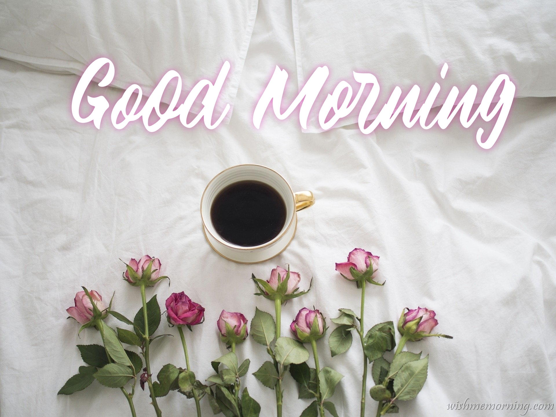 Beautiful White Bed Sheets Flower with Coffee Cup Pillows Good Morning Wish