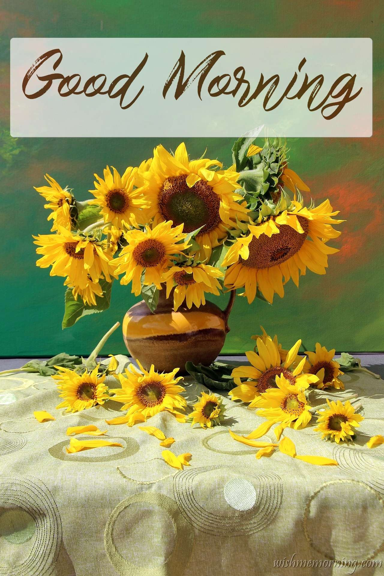 Bunch of Yellow Sunflowers in Pot On Table Good Morning Image