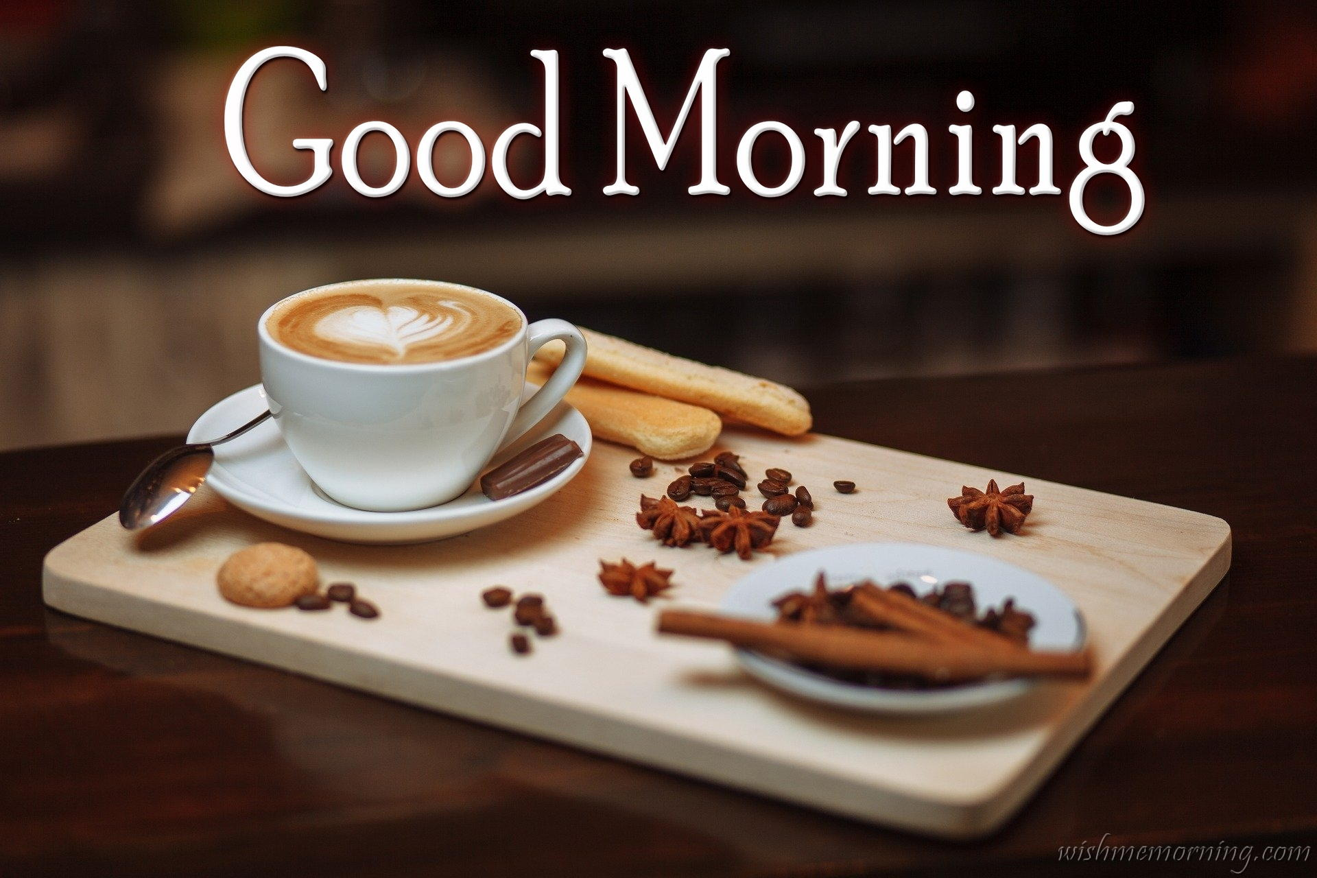 Coffee Cup Cream with Snacks Good Morning in Tray
