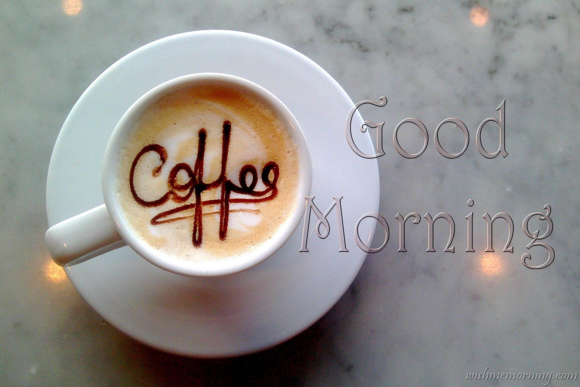 Coffee Written From Chocolate Coffee Cream White Color Cup Good Morning