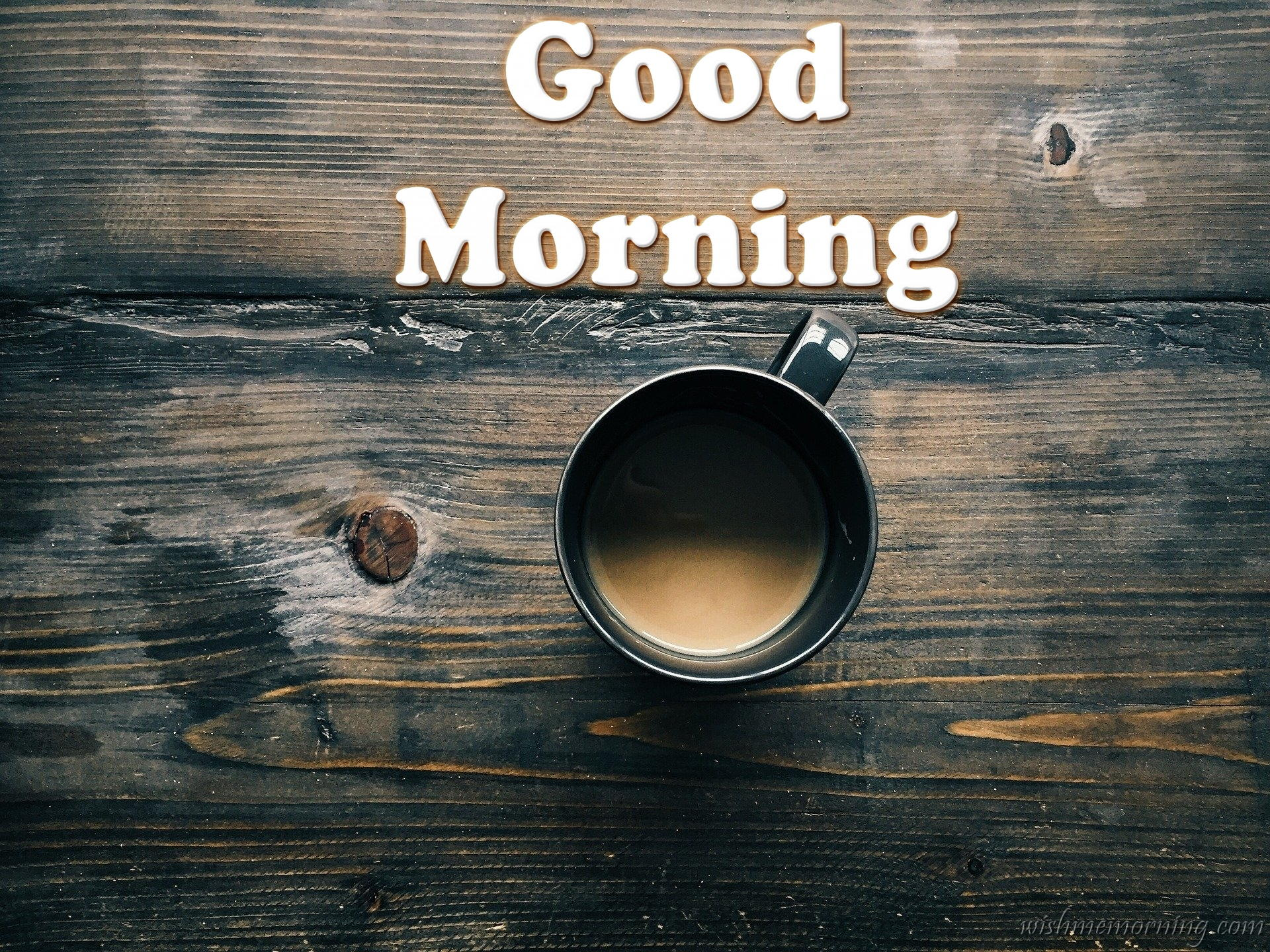 Elagant Black Cup on Teak Wood Table Filled With Coffee Good Morning Wish