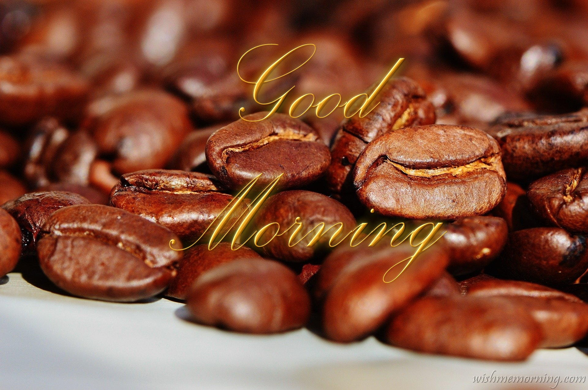 Golden Color Good Morning Text Zoomed Closeup Coffee Beans