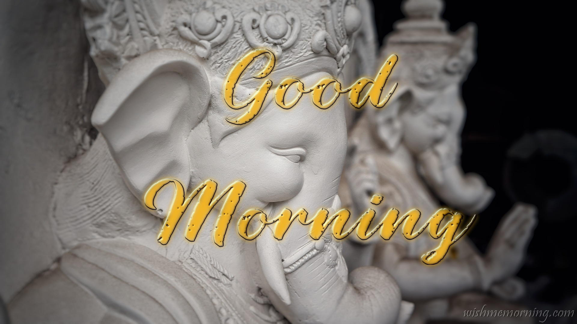 Golden Good Morning Text Over Lord Ganesha Image