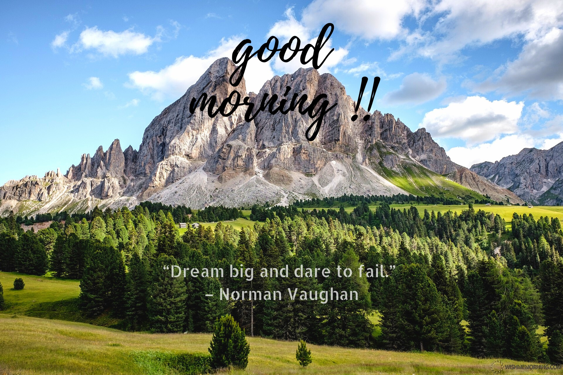 Green Trees With Gray Mountain Good Morning Photo Image