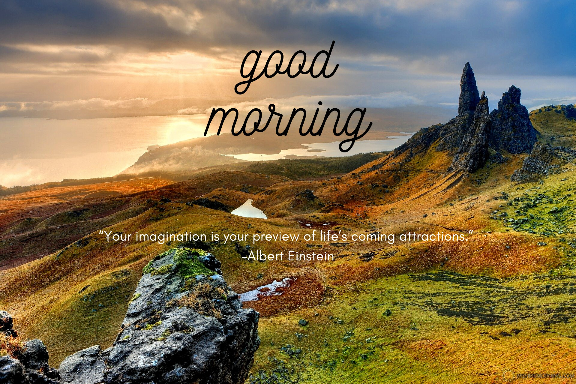 Green Yellow Valley Mountain Rocks Cloudy Sky Good Morning Wishes Image Quotes