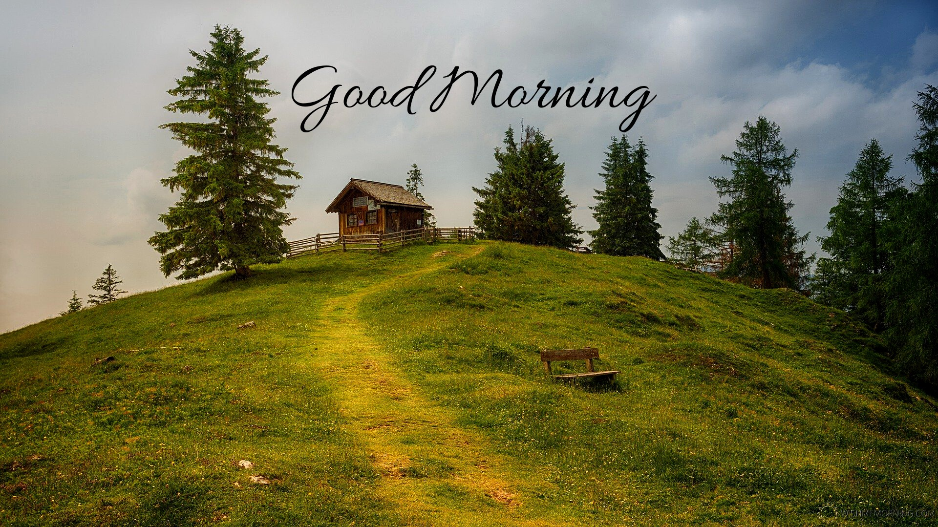 Hut Over Grassy Mountain Field Trees Cloudy Sky Good Morning