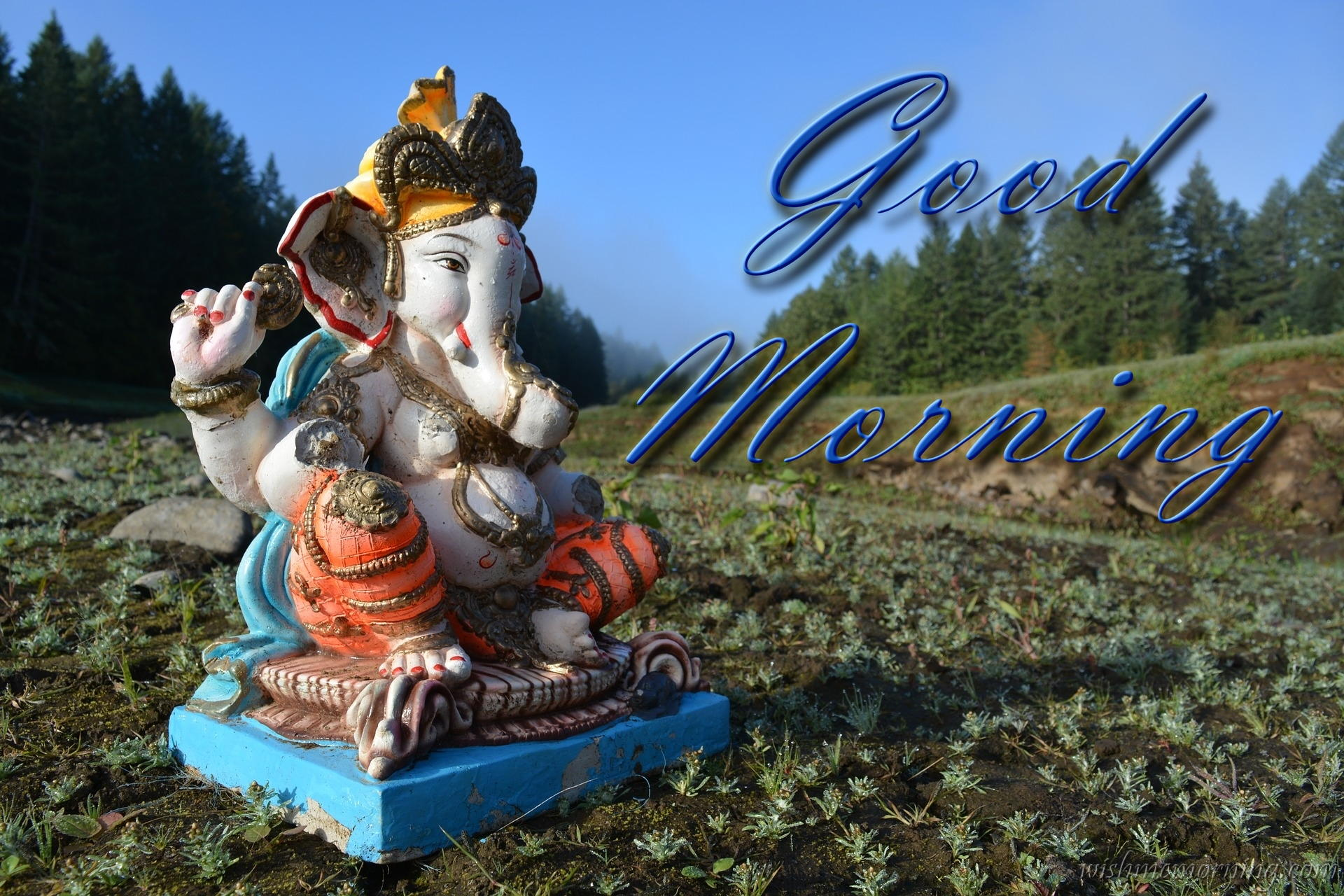 Lord Ganesha Blue Sculpture In Green Field Good Morning Picture