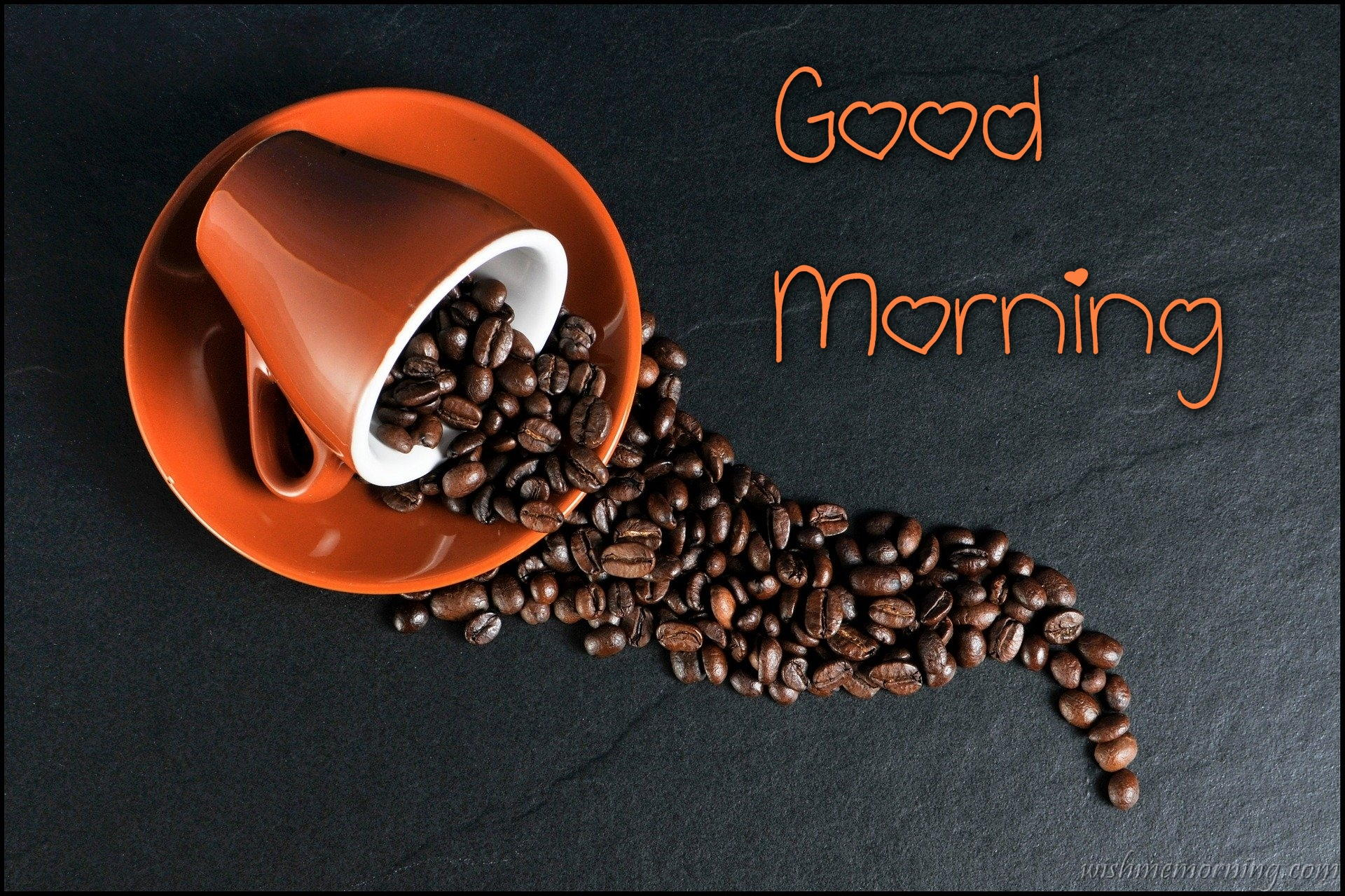 Orange Color Cup Filled With Coffee Beans Good Morning