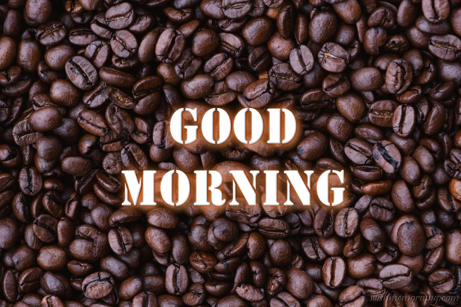 Stencil Good Morning Text Over Coffee Beans Closeup Background